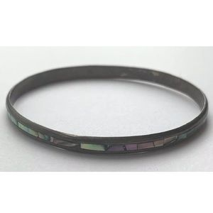 Children's kid's sterling silver abalone bangle